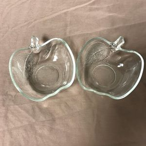 Pair of apple shaped candy glass dishes
